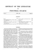 The Journal of Industrial Hygiene and Abstract of the Literature