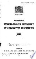 Provisional German-English Dictionary of Automotive Engineering