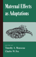 Maternal Effects As Adaptations ebook