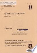 The AFCRL Lunar Laser Experiment Book