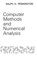 Introductory Computer Methods and Numerical Analysis