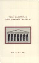 Library Company of Philadelphia: 1987 Annual Report [Pdf/ePub] eBook