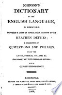 Johnson s Dictionary of the English Language  in Miniature  To which is Added an Alphabetical Account of Heathen Deities    Book PDF