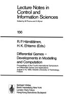 Differential Games     Developments in Modelling and Computation