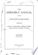 The Assembly Manual of the Wisconsin Legislature