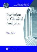 Invitation to Classical Analysis