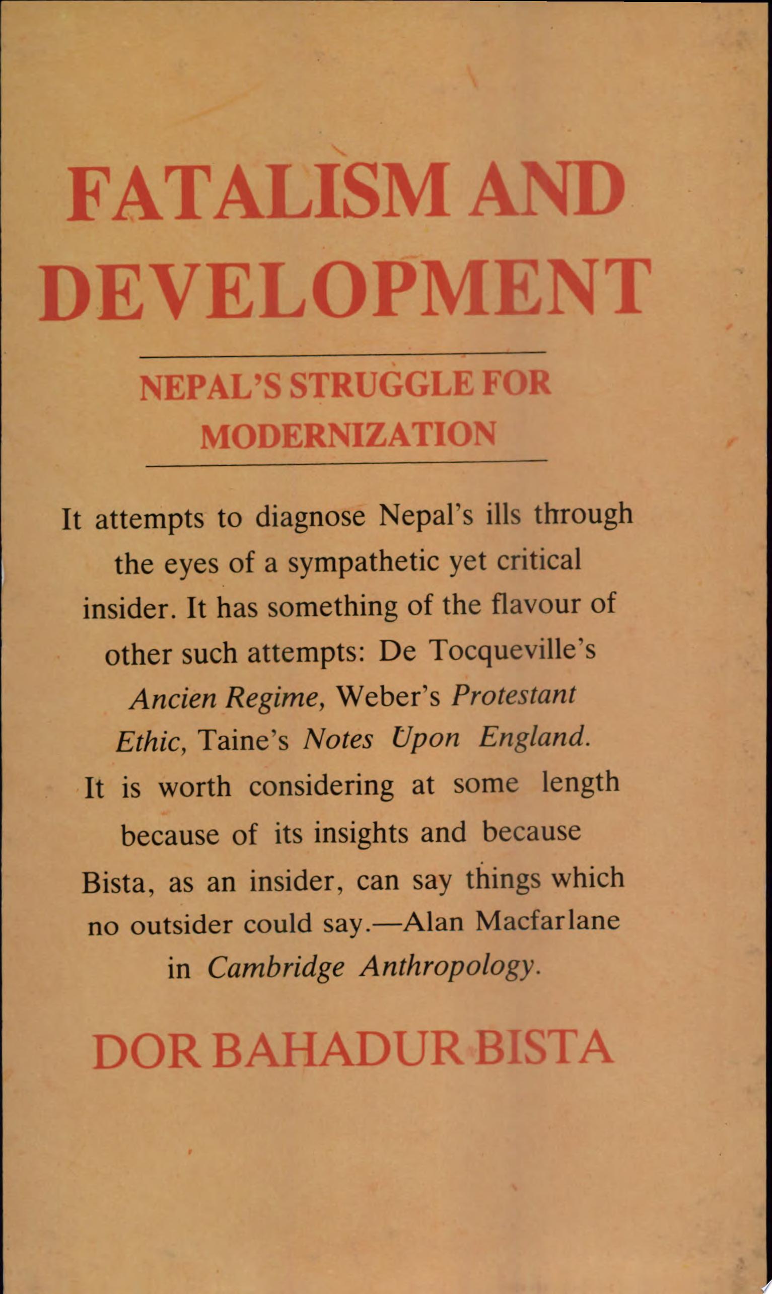 Fatalism and Development