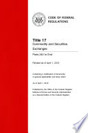 Title 17 Commodity and Securities Exchanges Parts 240 to End (Revised as of April 1, 2014)