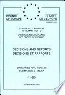 Decisions And Reports Council Of Europe European Commission Of Human Rights