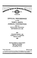 Official Proceedings of the Annual Convention   American Society of Municipal Engineers