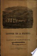 Letter to a Friend  Cambrian Sanatorium  Llandudno