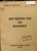 Army Personnel Tests and Measurement