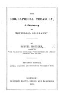 The Biographical Treasury  Fifth edition  with a supplement