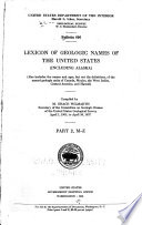 Lexicon of Geologic Names of the United States  including Alaska