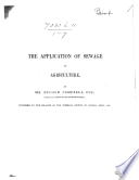 The Application Of Sewage To Agriculture Reprinted From The Engineer