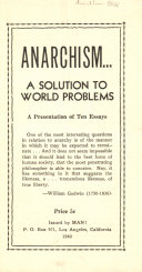 Anarchism  a Solution to World Problems