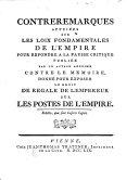 Contreremarques appuiées sur les Loix fondamentales de l'Empire ...