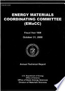 Energy Materials Coordinating Committe  EMaCC   Fiscal Year 1999 Annual Technical Report
