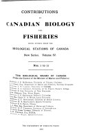 Contributions to Canadian Biology