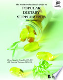 The Health Professional S Guide To Popular Dietary Supplements Book PDF