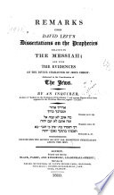 Remarks Upon David Levi's Dissertations on the Prophecies Relative to the Messiah