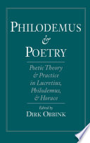 Philodemus And Poetry Book