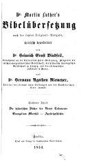 Martin Luther's Bibelübersetzung, Nach Der Letzten Original-Ausg