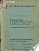 The Liquid Metal Fast Breeder Reactor Program  Past  Present  and Future  Energy Research and Development Administration Book