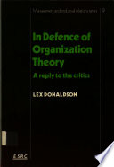 In Defence of Organisation Theory Book