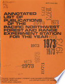 Publications of the Pacific Northwest Forest and Range Experiment Station