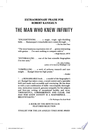 Download The Man Who Knew Infinity Free Books - Dlebooks.net
