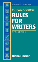 Instructors Edition Rules for Writers Book