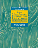 Student solutions manual for Zill's A first course in differential equations with modeling applications