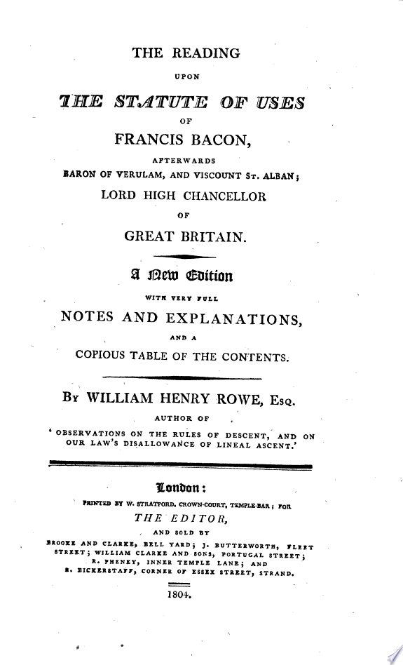 The learned reading of sir Francis