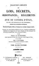 Collection complète des lois, décrets, ordonnances, réglemens, avis du Conseil-d'Etat