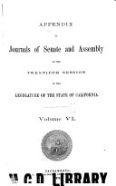 Journals of the Senate and Assembly California Legislature
