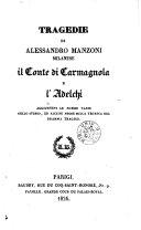 Tragedie ... il conte di carmagnola e l'Adelchi