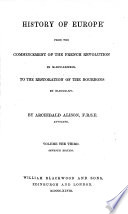 History Of Europe From The Commencement Of The French Revolution Etc Book