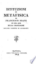 Istituzione Di Metafisica Edizione Accresciuta Book