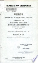 Hearing On Libraries Book PDF