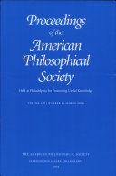 Proceedings, American Philosophical Society (vol. 148, no. 1, 2004) Pdf/ePub eBook