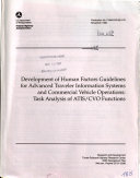 Development of Human Factors Guidelines for Advanced Traveler Information Systems and Commercial Vehicle Operations