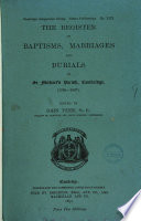 The Register of Baptisms, Marriages and Burials in St. Michael's Parish, Cambridge