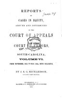 Reports of Cases in Equity  Argued and Determined in the Court of Appeals and Court of Errors of South Carolina