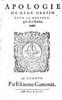 Apologie de René Herpin pour la république de J. Bodin