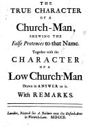 Pdf The True Character of a Church-man, Shewing the False Pretences to that Name