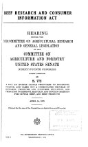 Hearings  Reports and Prints of the Senate Committee on Agriculture and Forestry