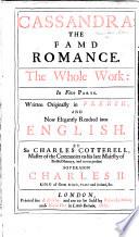 Cassandra     By G  de Costes de la Calpren  de  Now rendred into English  By Sir Charles Cotterell