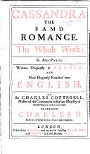 Cassandra ... By G. de Costes de la Calprenède. Now rendred into English. By Sir Charles Cotterell