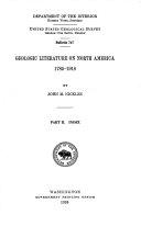 Geologic Literature on North America  1785 1918  Index